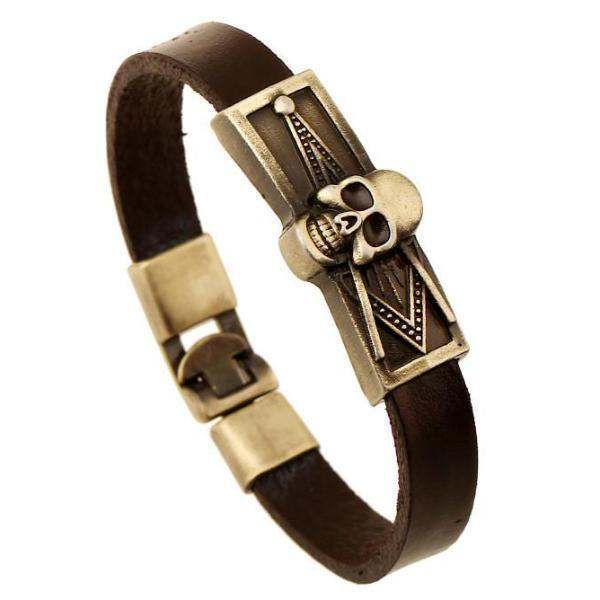 Skull Masonic Leather Bracelet