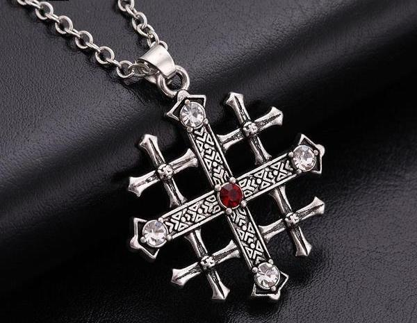 knights Templar Jerusalem Cross Medieval Red Crystal Necklace - Bricks Masons