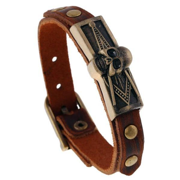Skull Square Compass Masonic Leather Bracelet