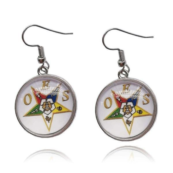 Order of the Eastern Star OES Round Dangle Earrings - Bricks Masons