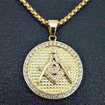 Square Compass G Zirconia Masonic Pendant Necklace