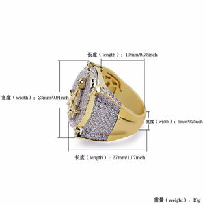 Full Zirconia Deluxe Masonic Copper Ring - Bricks Masons