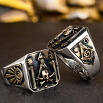925 Silver Skull & Bones Pillars Masonic Ring [Laser Text Engraving] - Bricks Masons