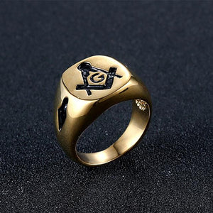 Casted Square & Compass G Masonic Ring [Gold & Silver] - Bricks Masons