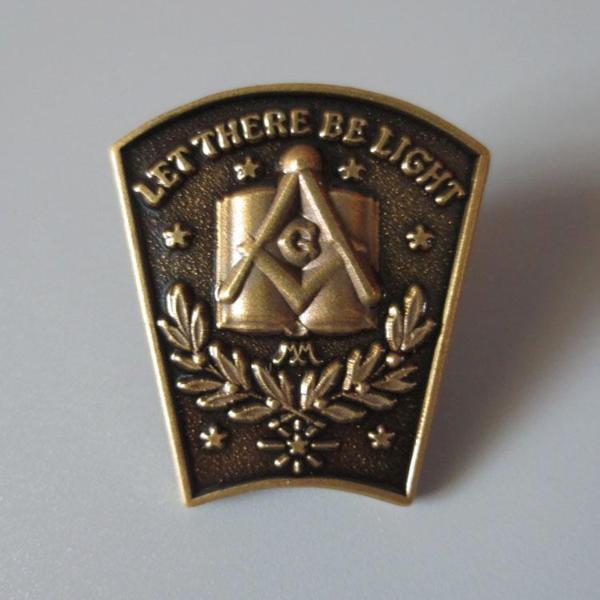 Antique Bronze LET THERE BE LIGHT Masonic Lapel Pin - Bricks Masons
