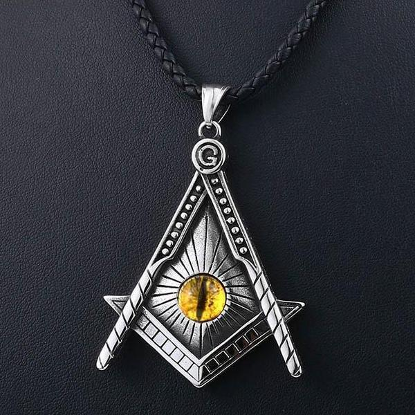 Yellow Eye Stainless Steel Masonic Necklace