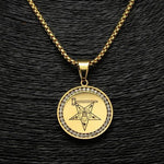 Stainless Steel Gold-Color Round Eastern Star OES Necklace - Bricks Masons