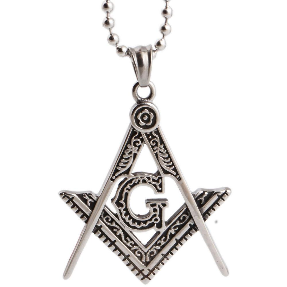 Compass & Square G Necklace [Silver] - Bricks Masons