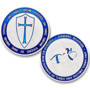 Knights Templar - IN HOD SIGNO VINCES Navy Blue Coin - Bricks Masons