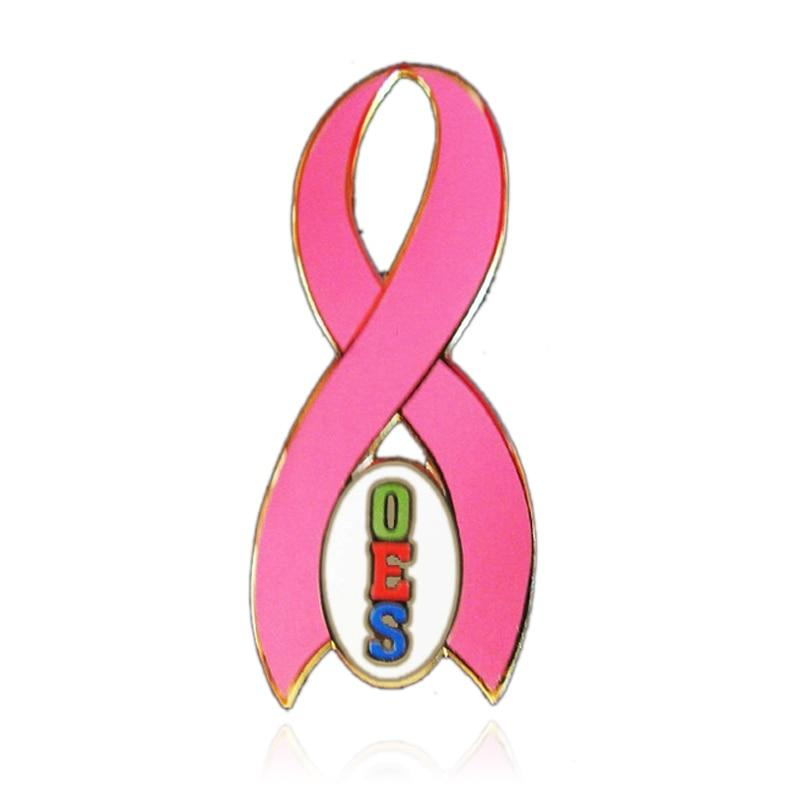 Order of The Eastern Star OES  Breast Cancer Awareness Ribbon Lapel Pin - Bricks Masons