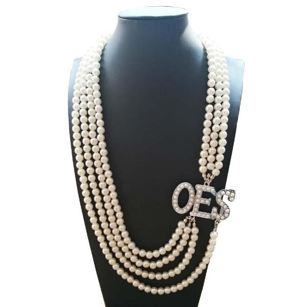 Order of the Eastern Star OES Pearl Necklace - Bricks Masons