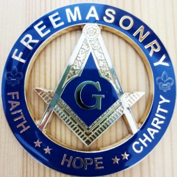 FREEMASONRY FAITH HOPE CHARITY Blue Car Emblem - Bricks Masons