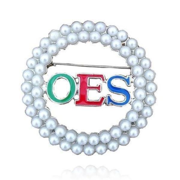 Order of the Eastern Star Pearl OES Brooch - Bricks Masons