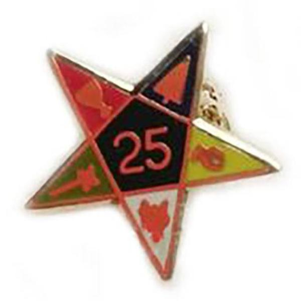 25th Year Of Eastern Star Masonic Lapel Pin - Bricks Masons