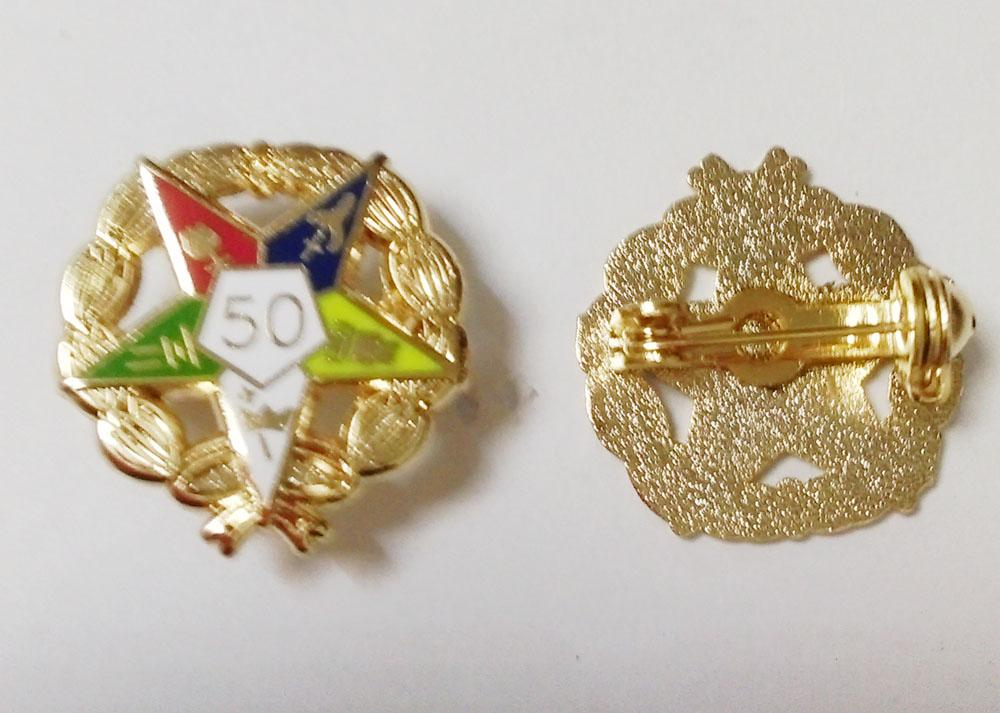 Eastern Star 50 Year Service Lapel Pin With Wreath - Bricks Masons