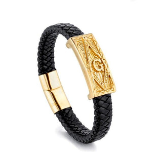Braided Square & Compass Black Bracelet - Bricks Masons