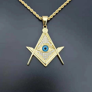 Providence Eye Gold Color Freemason Masonic Pendant Necklace - Bricks Masons