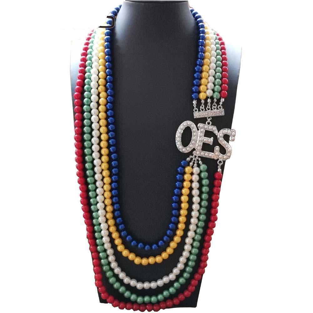 Order of the Eastern Star Jewelry OES Color Long Pearl Necklace - Bricks Masons