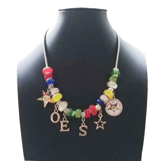 Mason Products Order of the Eastern Star Jewelry OES Charm Necklace - Bricks Masons