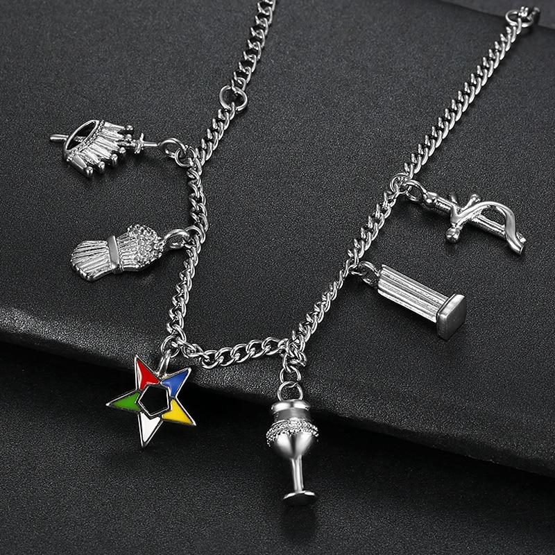 Stainless Steel Silver Color OES Chain Bracelet Order of the Eastern Star - Bricks Masons