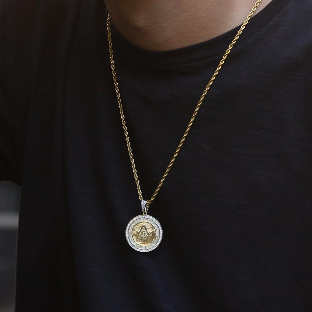 Zirconia Freemason Masonic Round Pendant Necklace - Bricks Masons