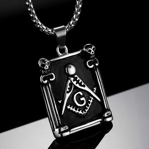 Pillars Square Compass G Masonic Necklace - Bricks Masons