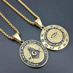 Eye of Horus Square Compass Masonic Pendant Necklace - Bricks Masons