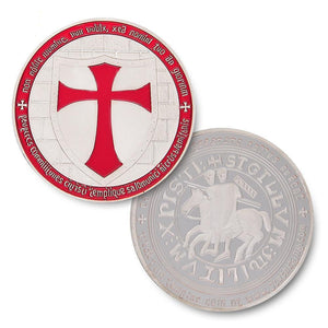 Knights Templar - Wide Cross Shield Red Coin - Bricks Masons