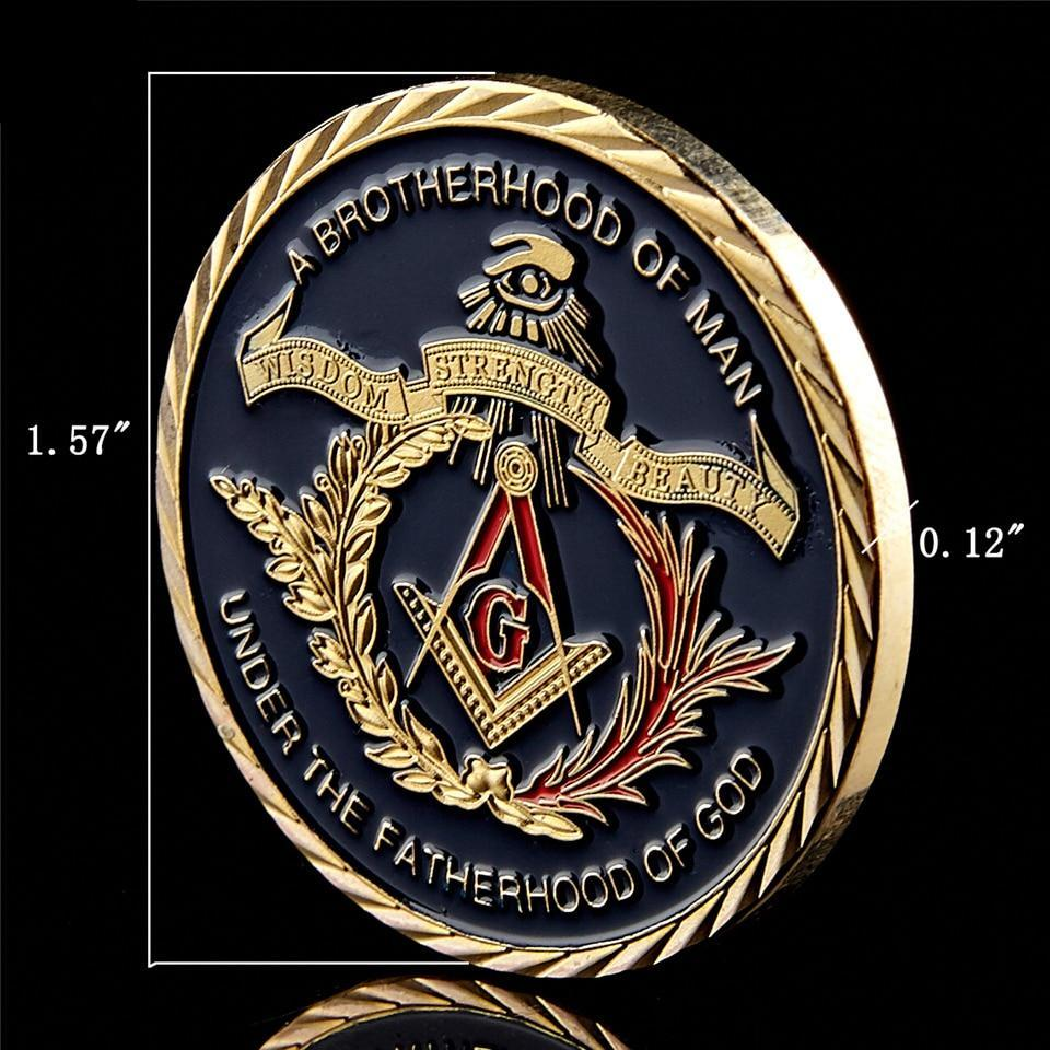 14K Gold Plated A Brotherhood of Man Under the Fatherhood of God Coin - Bricks Masons