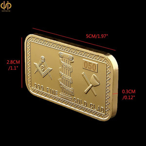 Gold Plated Masonic Lodge Commemorative Bar - Bricks Masons