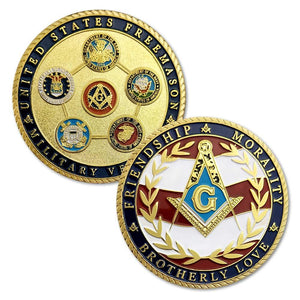 US Veteran Military Air Force Navy Marine Corps Army Coast Guard Masonic Coin