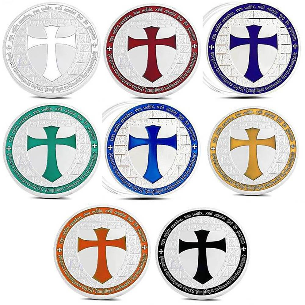 Multi-Color Silver Plated Masonic Knights Templar Coin