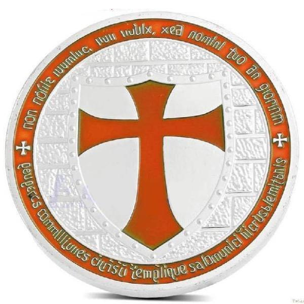 Multi-Color Silver Plated Masonic Knights Templar Coin - Bricks Masons