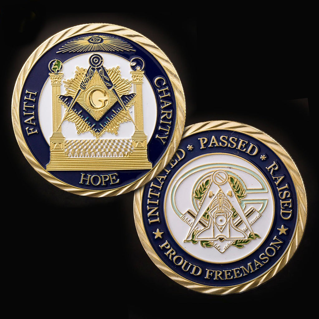 Coin Collecting Masonic Mason Silver Plated Challenge Coin