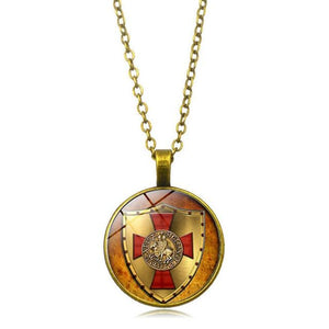 Knights Templar Glass Cover Pendant Necklace - Bricks Masons