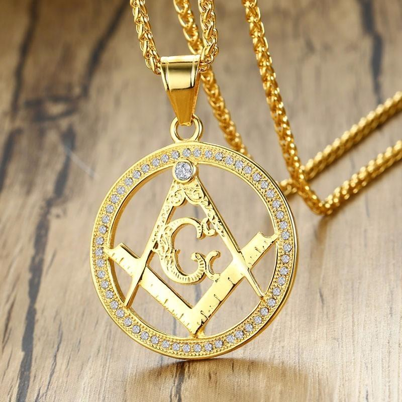 Round Square Compass G Masonic Necklace