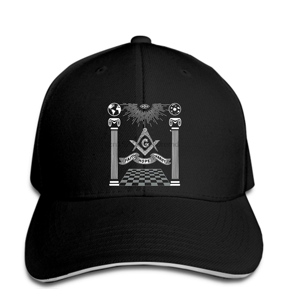 Pillars Lodge Masonic Symbol Adjustable Baseball Cap - Bricks Masons