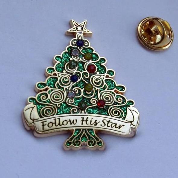 Follow His Star 3.7cm Christmas tree Order of the Eastern Star Lapel Pin - Bricks Masons