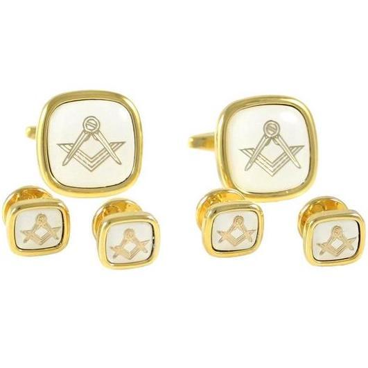Square Compass Shirt Cufflinks and Studs Set