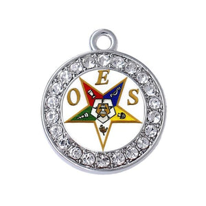 Round Order of Eastern Star OES Charms Pendants - Bricks Masons