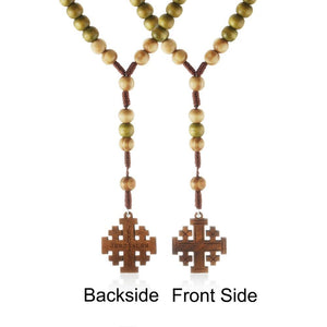 Wooden Rosary Beaded Jerusalem Cross Necklace