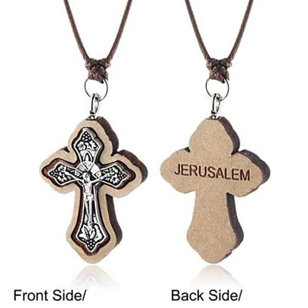 Medieval Wooden Jerusalem Cross Necklace - Bricks Masons