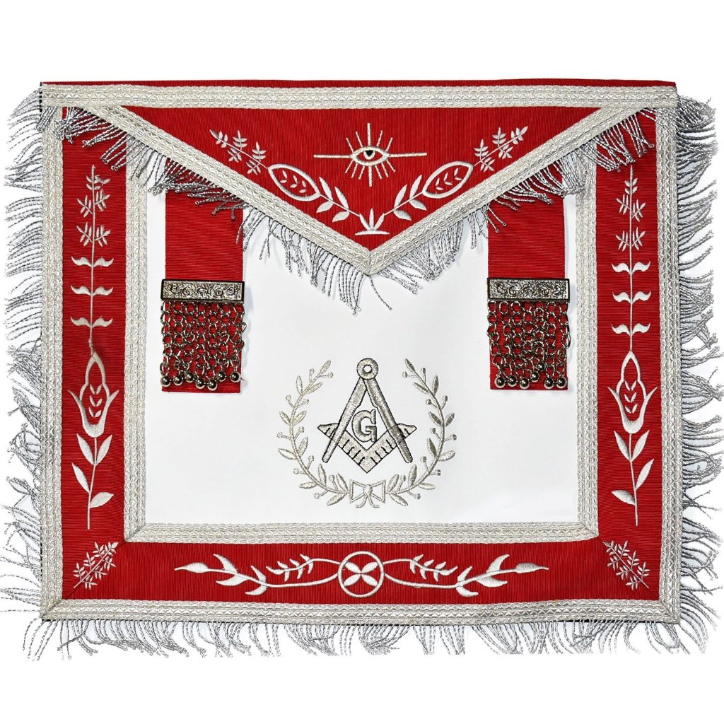Masonic Blue Lodge Master Mason Silver Machine Embroidery Red Apron