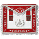 Masonic Blue Lodge Master Mason Silver Machine Embroidery Red Apron - Bricks Masons