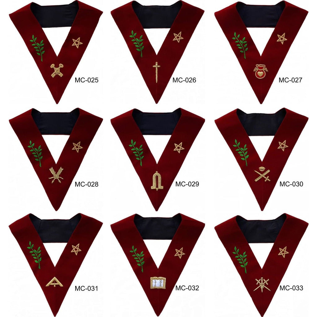 Scottish Rite 14th Degree Lodge Of Perfection Officer Collars Set Of 9 Hand Embroidered
