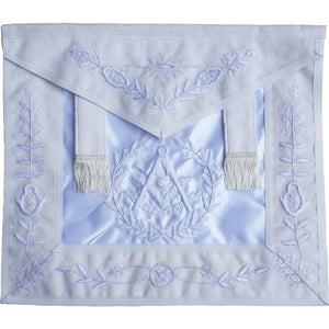 Masonic All White Past Master Apron With Wreath - Bricks Masons