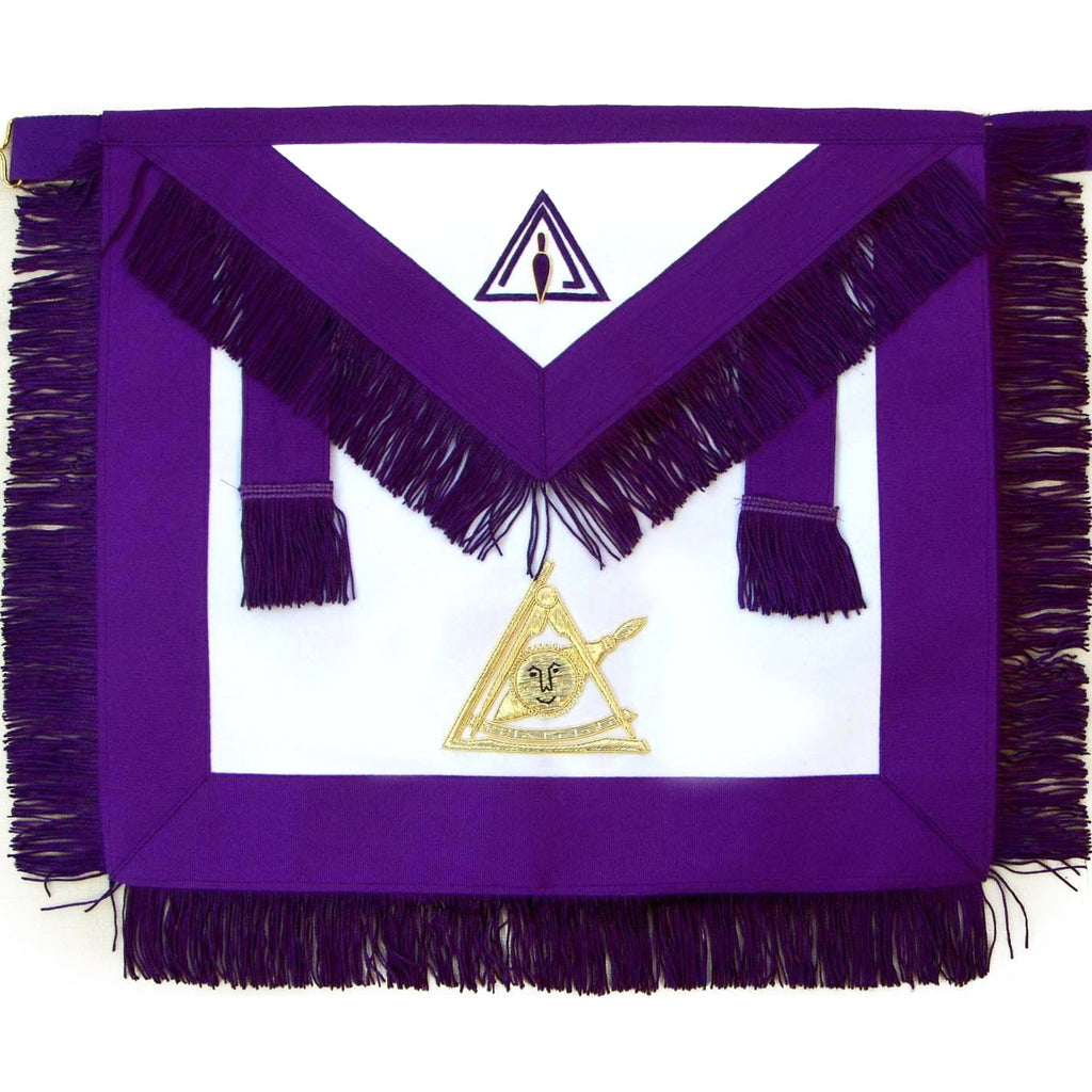 Masonic Past Thrice Illustrious Master PTIM Apron Hand Embroidered - Bricks Masons