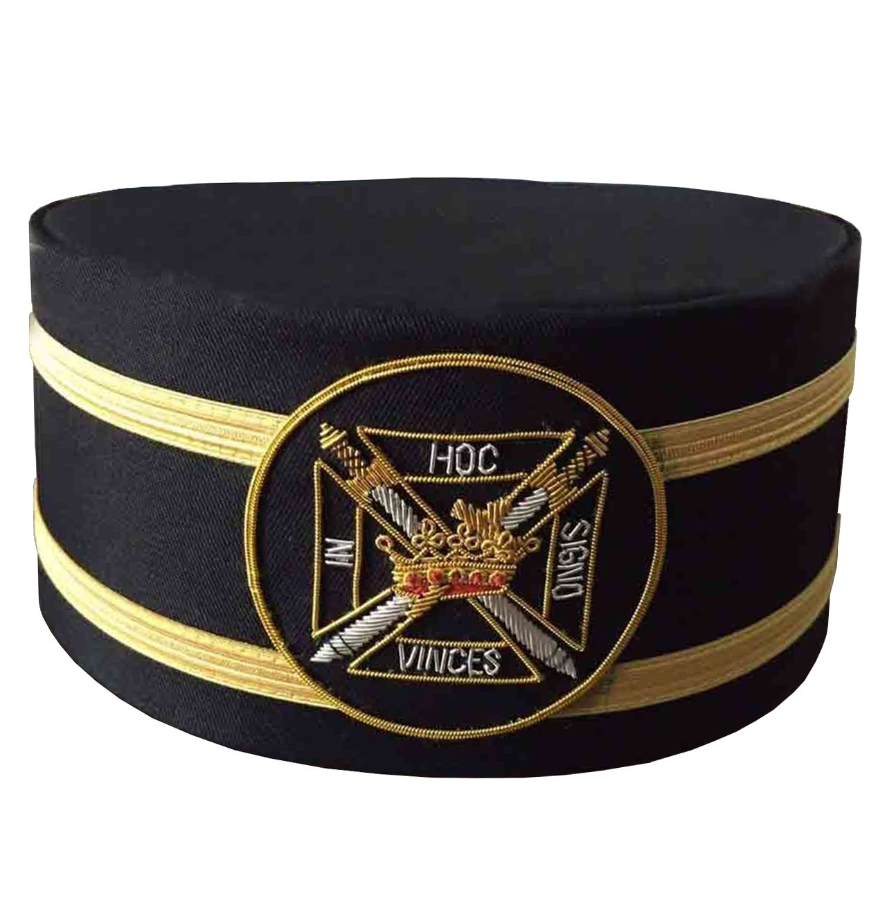 Masonic Knights Templar Black Cap with Gold Braid - Bricks Masons