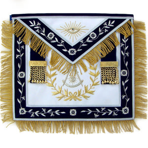 Masonic Blue Lodge Past Master Apron With Wreath Bullion Hand Embroidered - Bricks Masons