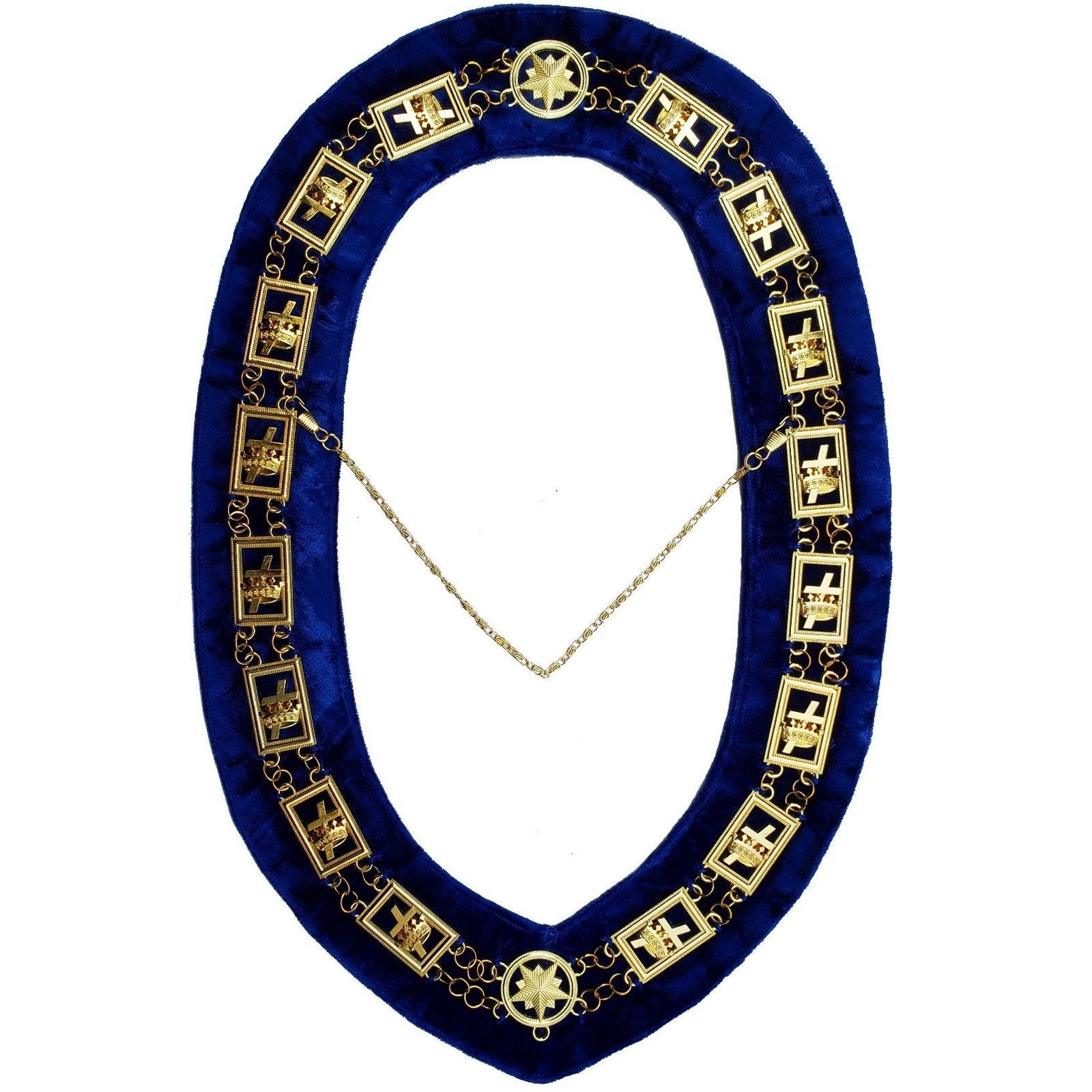 Knights Templar - Masonic Chain Collar - Gold/Silver on Blue + Free Case - Bricks Masons